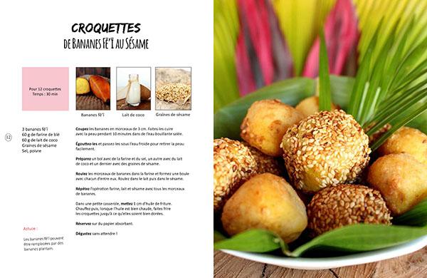 Recette de croquettes de banane fei ou plantain issue du livre de cuisine végétale Vegan à Tahiti, 25 recettes faciles.