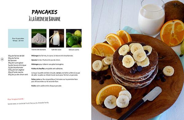 Recette des pancakes à la farine de banane verte de coco issue du livre de cuisine végétale Vegan à Tahiti, 25 recettes faciles.