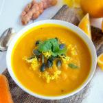 Recette du velouté glacé carottes, patates douces, orange et curcuma (vegan, sans gluten, IG bas).