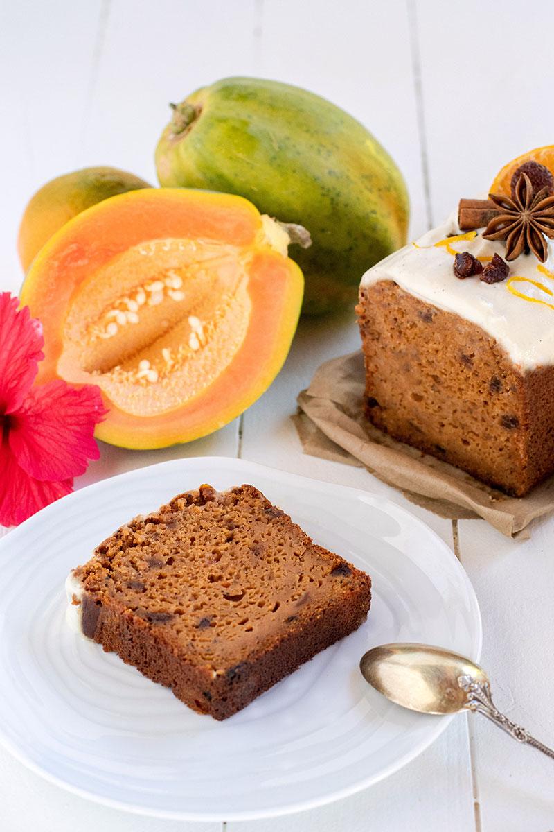 Cake à la papaye façon carrot cake (recette vegan, sans gluten).