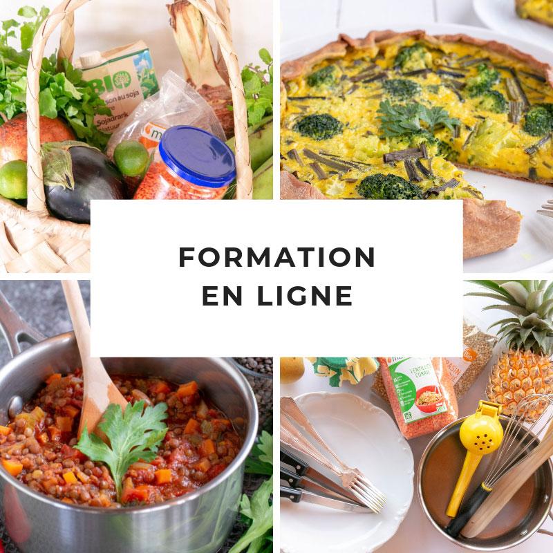 une formation en ligne qui t'apprends à végétaliser ton alimentation pour vivre mieux en cuisinant sainement, simplement et pour pas cher.