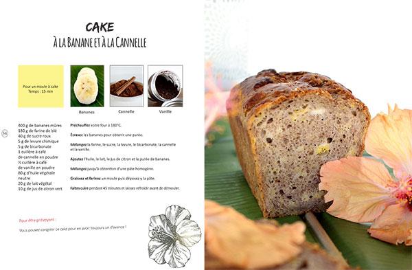 Recette vegan de cake à la banane  et à la cannelle, issue du livre Vegan à Tahiti, 25 recettes faciles.