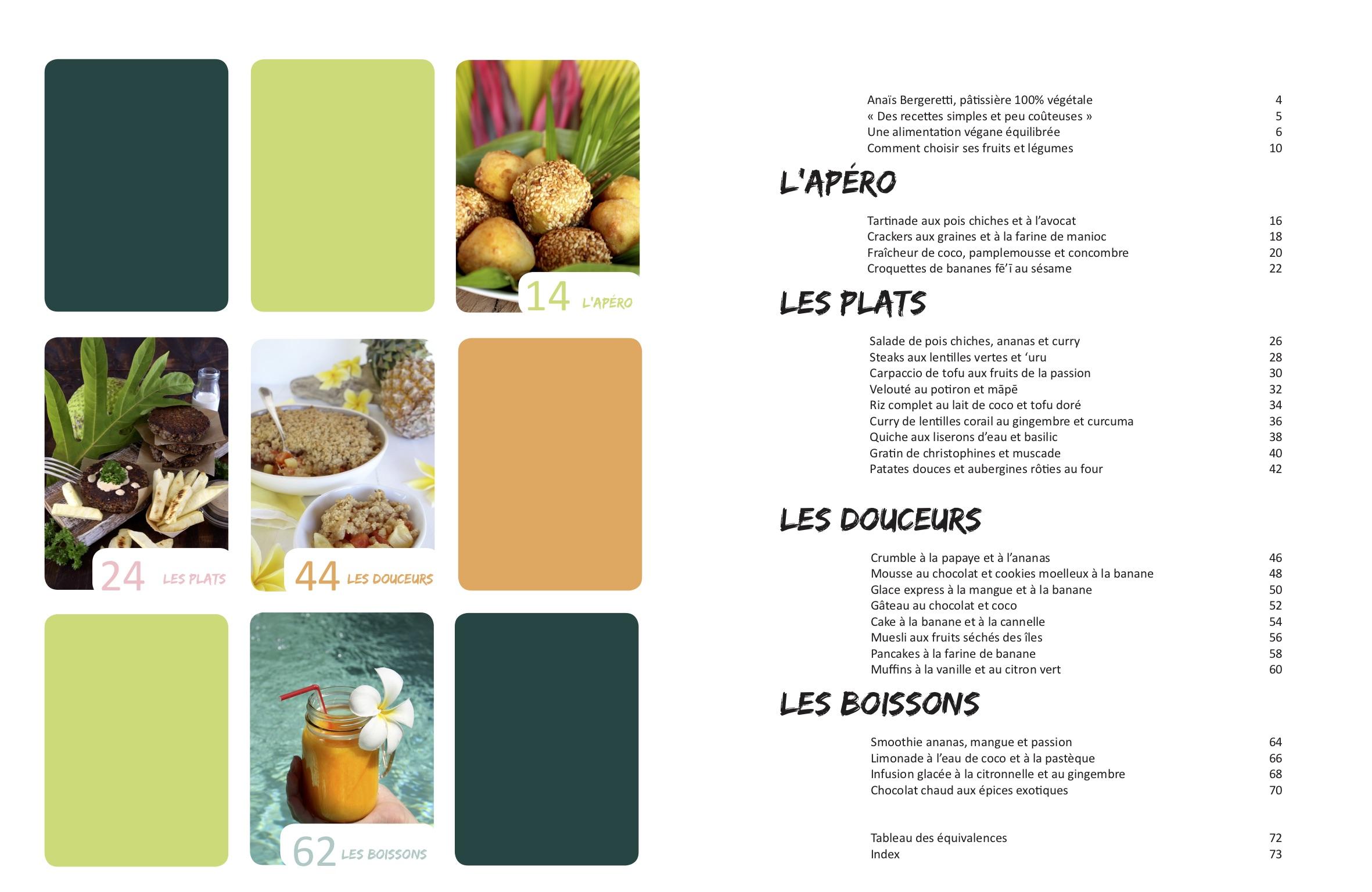 Sommaire du livre de cuisine végétale Vegan à Tahiti, 25 recettes faciles.