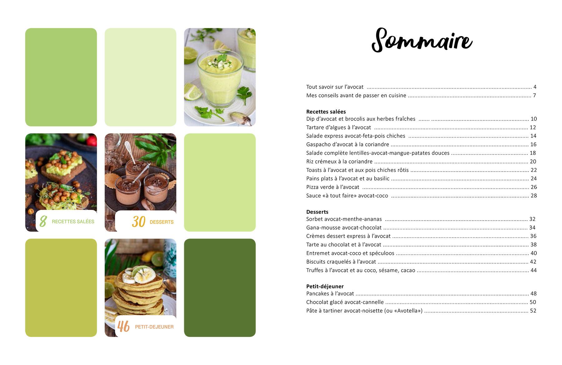 Sommaire du livre de cuisine : AVOCAT, 20 recettes végétales pour cuisiner l'avocat différemment.