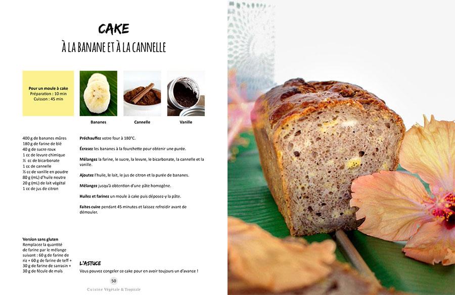 Recette vegan du cake à la banane et à la cannelle issue du livre Vegan à Tahiti, 25 recettes faciles.