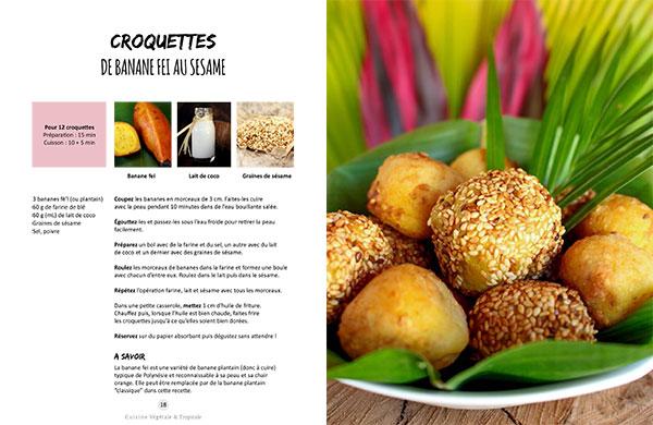 Recette des croquettes de banane fei (plantain) au sésame issue du livre Vegan à Tahiti, 25 recettes faciles.