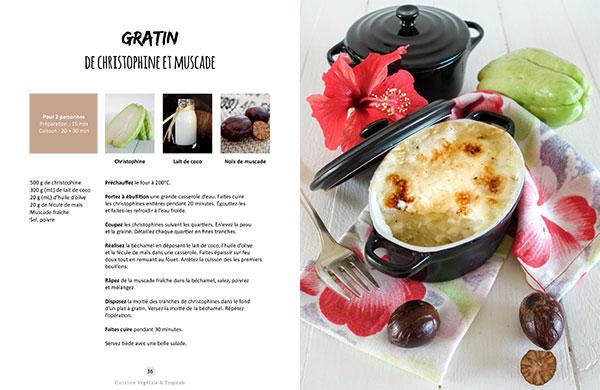 Recette du gratin de christophine et muscade issue du livre Vegan à Tahiti, 25 recettes faciles.