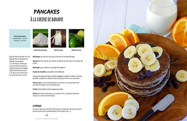 Recette des pancakes à la farine de banane issue du livre Vegan à Tahiti, 25 recettes faciles.