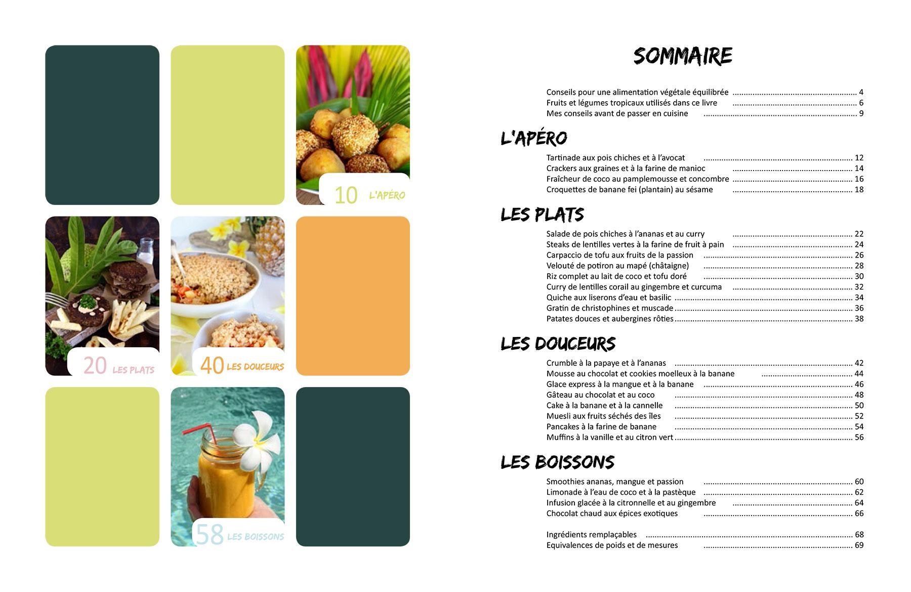 Sommaire du livre Vegan à Tahiti, 25 recettes faciles.